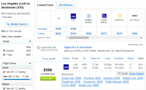 LA to Stockholm: Fly.com Results Page