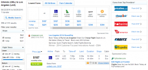 Orlando to LA: Fly.com Results Page