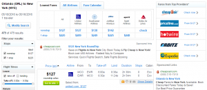 Orlando to NYC: Fly.com Results Page