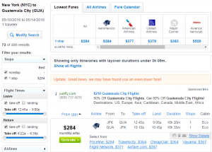 NYC to Guatemala: Fly.com Results Page