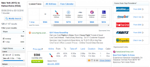 NYC to Kona: Fly.com Results Page