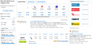 NYC to LA: Fly.com Results Page