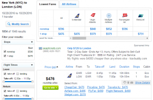 NYC to London: Fly.com Results Page