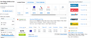 San Diego to San Jose: Fly.com Results Page