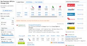 SF to Chicago: Fly.com Results Page