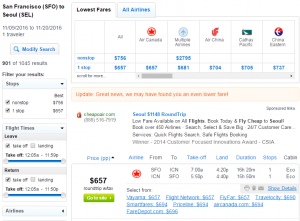 SF to Seoul: Fly.com Results Page