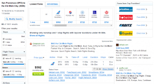 SF to Ho Chi Minh City: Fly.com Results Page