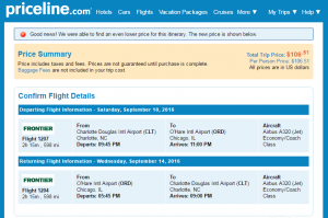 Charlotte to Chicago: Priceline Booking Page