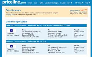 LA to Stockholm: Priceline Booking Page