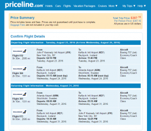 NYC to Stockholm: Priceline Booking Page