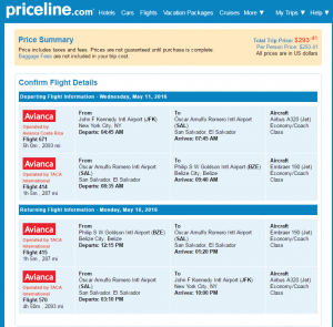 NYC to Belize: Priceline Booking Page