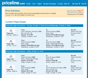 NYC to Dubai: Priceline Booking Page