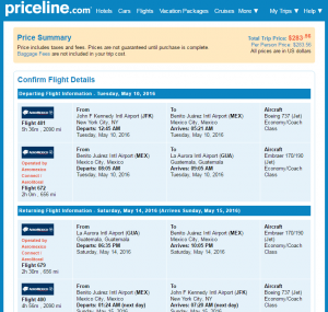 NYC to Guatemala: Priceline Booking Page