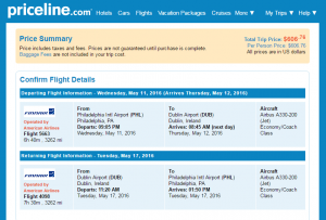 Philly to Dublin: Priceline Booking Page