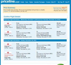 SF to Seoul: Priceline Booking Page