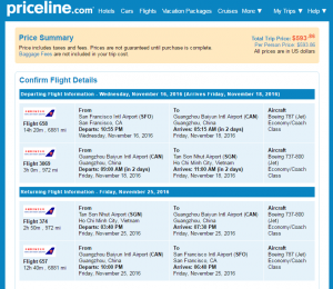 SF to Ho Chi Minh City: Priceline Booking Page