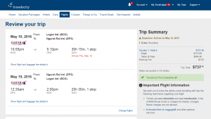 Boston to Bali: Travelocity Booking Page