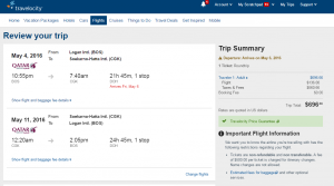 Boston to Jakarta: Travelocity Booking Page