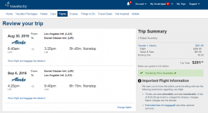 LA to Costa Rica: Travelocity Booking Page