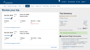 NYC to London: Travelocity Booking Page