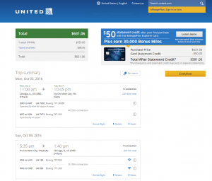 Chicago to Vietnam: United Booking Page