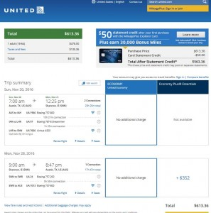 Austin-Shannon: United Airlines Booking Page