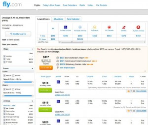 Chicago-Amsterdam: Fly.com Search Results