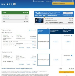 Chicago-Amsterdam: United Airlines Booking Page