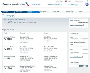 Chicago-Belize City: American Airlines Booking Page ($257)
