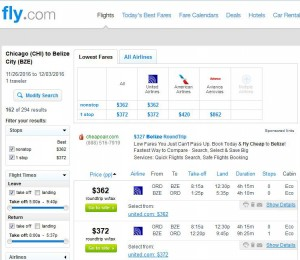 Chicago-Belize City: Fly.com Search Results