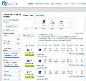 Chicago-Belize City: Fly.com Search Results ($377)