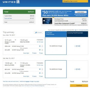 Chicago-Belize City: United Airlines Booking Page ($377)