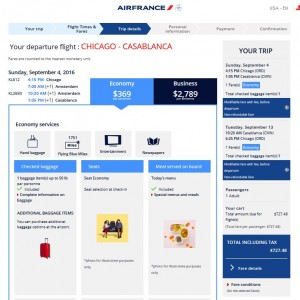 Chicago-Casablanca: Air France Booking Page