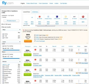 Chicago-Casablanca: Fly.com Search Results ($664)