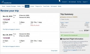 Chicago-Chennai: Travelocity Booking Page