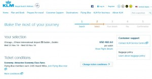 Chicago-Dublin: KLM Booking Page ($504)