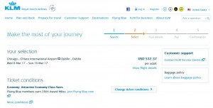 Chicago-Dublin: KLM Booking Page, St. Patrick's Day ($542)