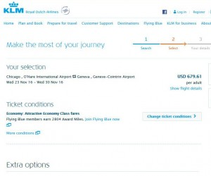 Chicago-Geneva: KLM Booking Page