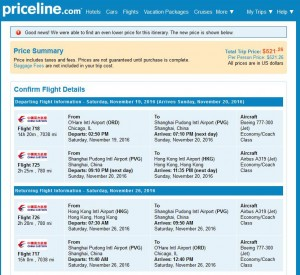 Chicago-Hong Kong: Priceline Booking Page