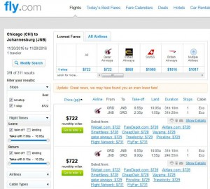 Chicago-Johannesburg: Fly.com Search Results
