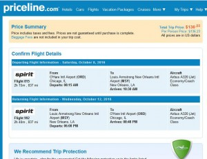 Chicago-New Orleans: Priceline Booking Page