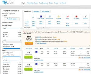 Chicago-Paris: Fly.com Search Results