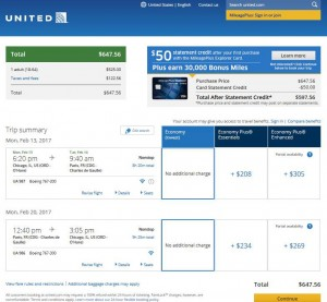 Chicago-Paris: United Airlines Booking Page