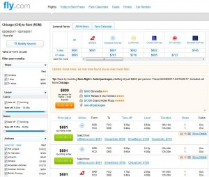 Chicago-Rome: Fly.com Search Results