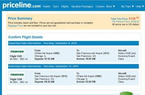 Chicago-San Francisco: Priceline Booking Page