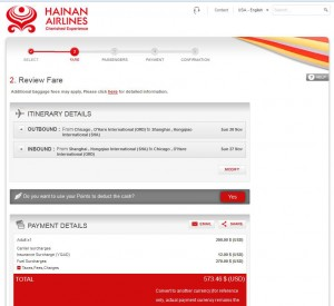 Chicago-Shanghai: Hainan Airlines Booking Page