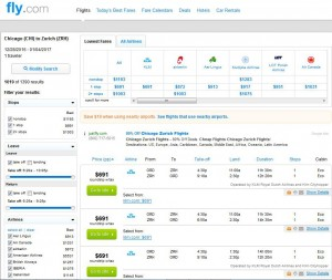 Chicago-Zurich: Fly.com Search Results