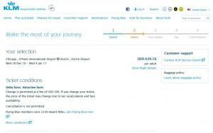 Chicago-Zurich: KLM Booking Page