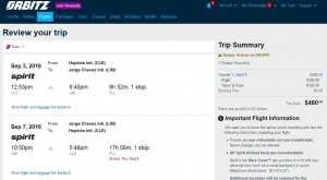 Cleveland-Lima: Orbitz Booking Page