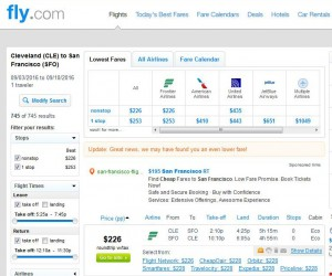 Cleveland-San Francisco: Fly.com Search Results